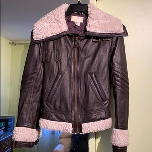 H&M Genuine leather Aviator jacket with faux fur